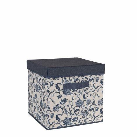 Resim  Ocean Home Çiçek Desen Baskılı Kapaklı Kutu (Lacivert) - 30x30x30 cm