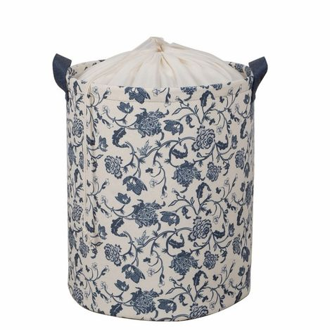 Ocean Home Lacivert Renk Çiçek Desen Baskılı Çamaşır Sepeti - Lacivert