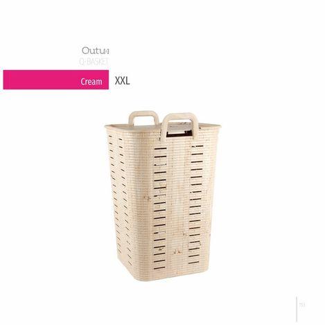 Q-Basket Cream Çamaşır Sepeti  - 70 Lt