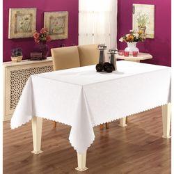Gofre Embossed Masa Örtüsü (Beyaz) - 150x180 cm