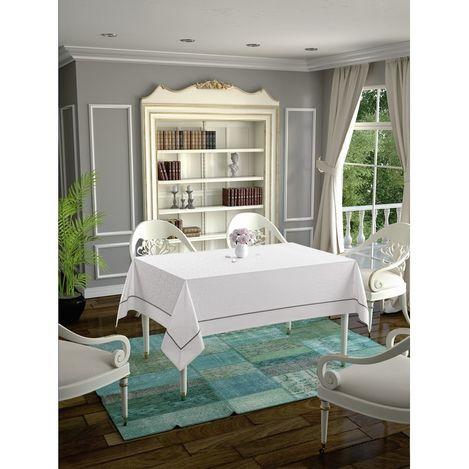 Daisy Ara Biyeli  Masa Örtüsü (Beyaz) - 160x160 cm