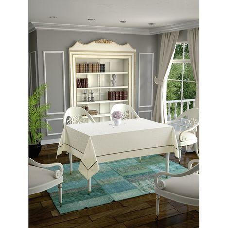 Daisy Ara Biyeli  Masa Örtüsü (Krem) - 160x220 cm