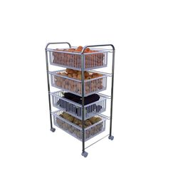 Metaltex Krom Nikel 4 Katlı Plastik Çekmeceli Mobil Raf