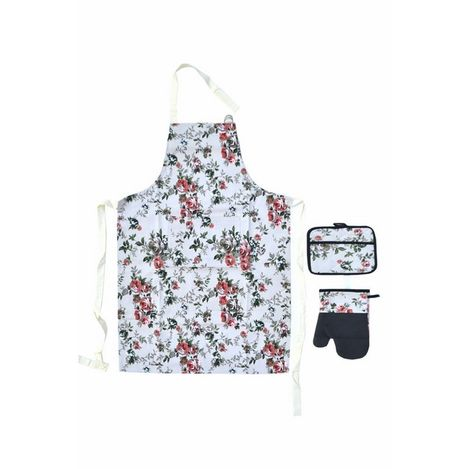 Giz Home Mutfak Önlük Ve Eldiven Seti Üçlü - Yeşil Çiçek