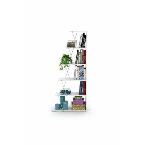 Rafevi Tars Mini Kitaplık - Beyaz / Krom