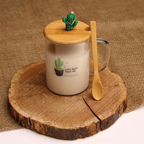 Resim  Tohana THN74520 Bambu Kapaklı Cam Kupa