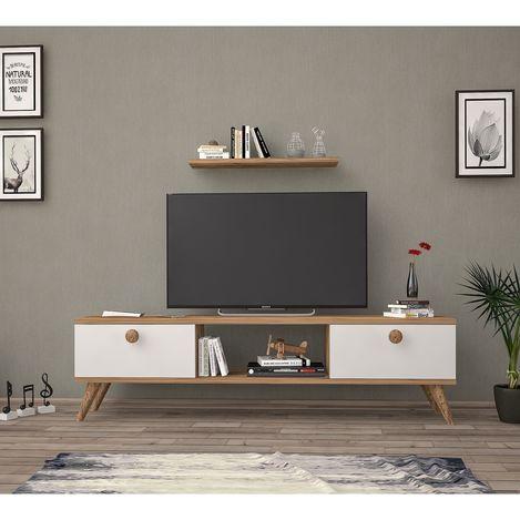 Resim  Just Home Terra 140 Cm Tv Ünitesi - Atlantik Çam / Beyaz