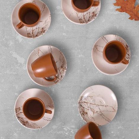 Resim  Keramika 17802 A Magic Kulplu 12 Parça Kahve Takımı - Kahverengi