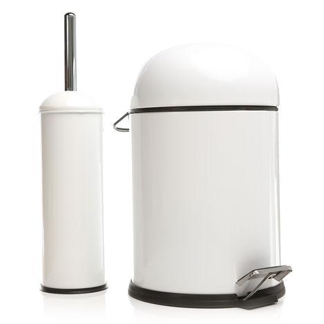 Resim  Dibanyo Bon Pedallı Çöp Kovası + Wc Klozet Fırçası Set - Beyaz