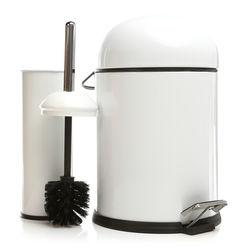 Dibanyo Bon Pedallı Çöp Kovası + Wc Klozet Fırçası Set - Beyaz