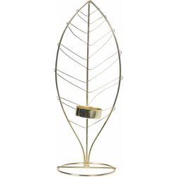 Q-ART Yaprak Desenli Metal Tealight Mumluk -11x10 cm