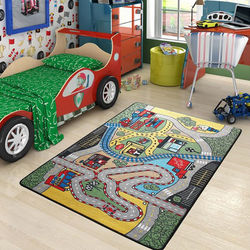 Confetti Race Çocuk Halısı - 133x190 cm - Yeşil