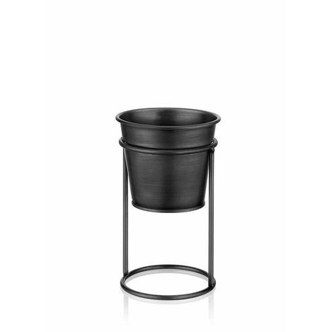 The Mia Ayaklı Çiçeklik (Siyah) - 21 cm