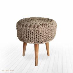 Erem Tekstil El Örgüsü Ayaklı Puf - Bej Mat