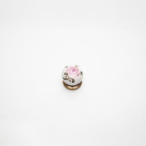 Esal Yıldız Düğme Antik Pembegül Kulp - Beyaz