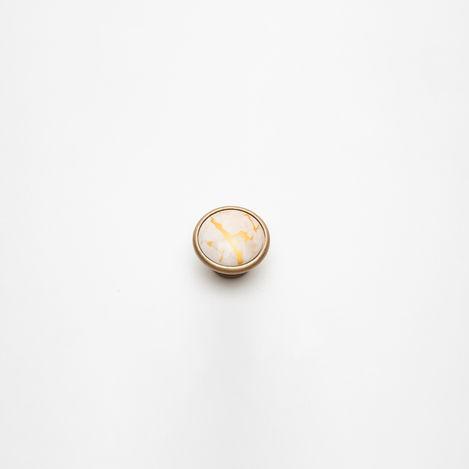 Esal Yıldız Düğme Mat Kulp - Beyaz/Altın