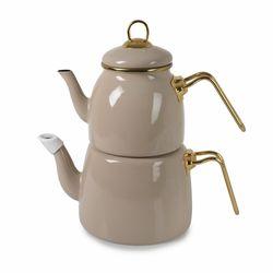 İpek Emaye Çaydanlık Takımı - Bej