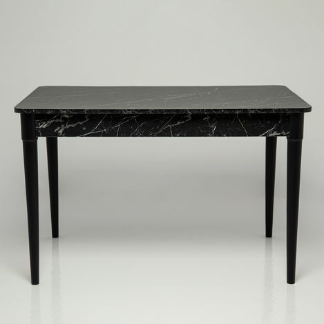 Linda Toprak Masa Siyah Mermer Desen - 120x80 cm