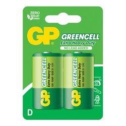 GP Batteries GP13G Greencell R20P/1250/D Boy Kalın Pil - 1.5 V, 2'li Kart