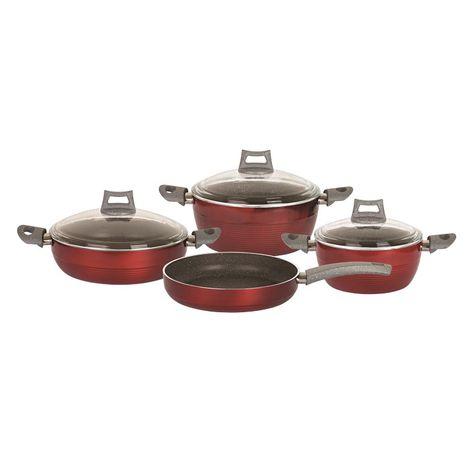 Mehtap Lilyum 7 Parça Granit Set - Kırmızı