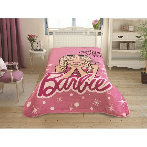 Taç Lisanslı Barbie Tek Kişilik Battaniye 160x220 cm