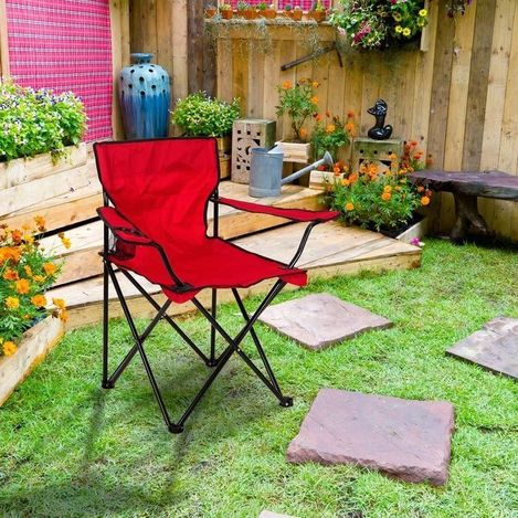 Just Home Katlanır Kamp Sandalyesi - Kırmızı