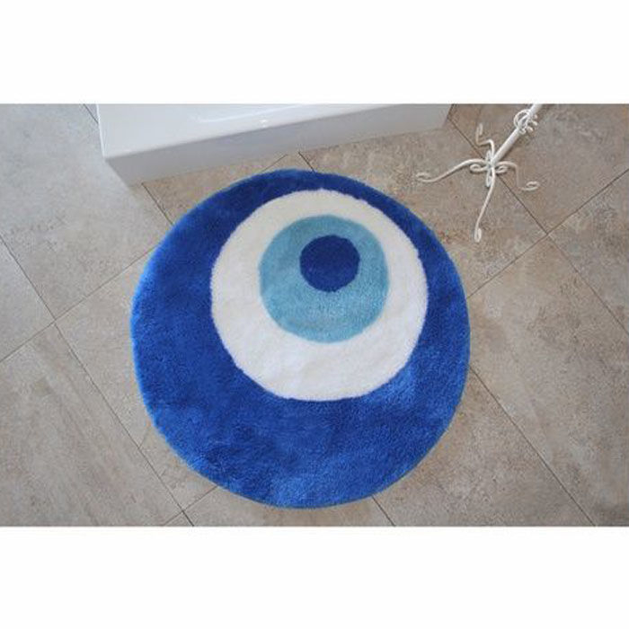Resim  Chilai Home Nazar Boncuğu Banyo Halısı (90x90 cm) - Mavi