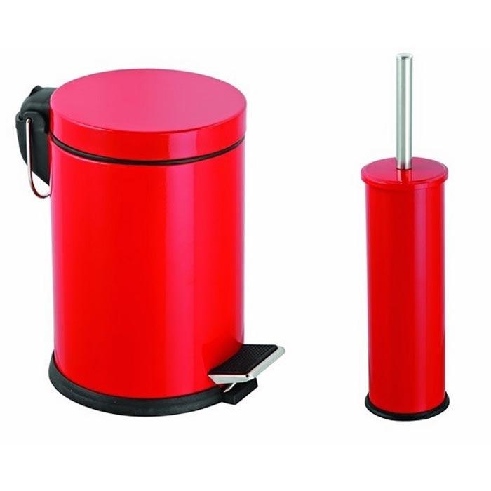Resim  Alper Banyo Pedallı Çöp Kovası ve Klozet Fırçası Seti (Kırmızı) - 5 Litre