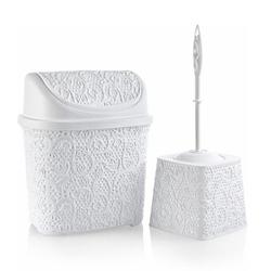 Alper Banyo Dantel Klik Çöp Kovası ve Klozet Fırçası Seti - Beyaz