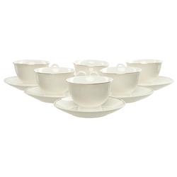 Bamwood 12 Parça Bone Porselen Kahve Fincan Seti