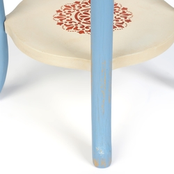 Orta Sofa Podima Eskitme Yan Sehpa - Mavi / Beyaz