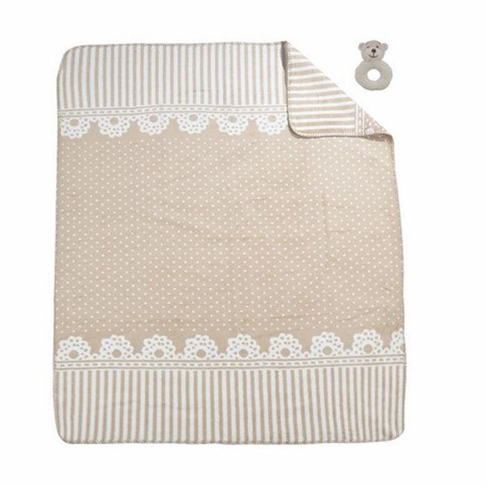 Merinos Lace Oyuncaklı Bebek Battaniye - Bej