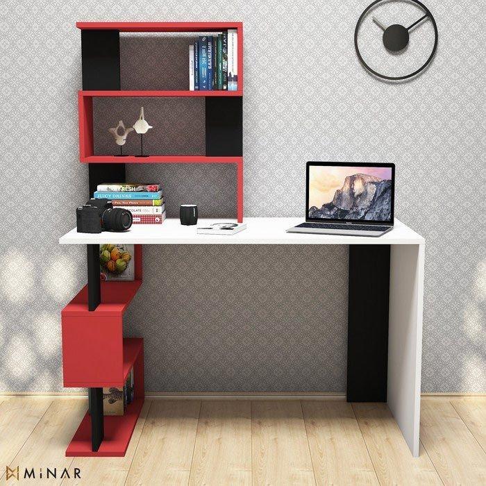 Resim  Minar Snap Maxi Çalışma Masası  - Beyaz / Kırmızı / Siyah