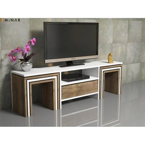 Resim  House Line Zygo 6 Zigon Sehpalı Tv Ünitesi - Ceviz / Beyaz