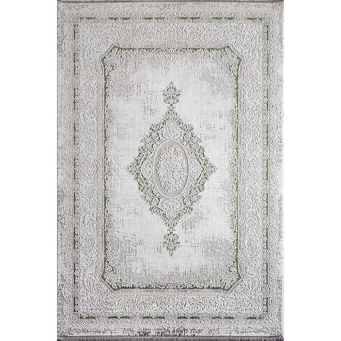 Bahariye Ezgi TW 5664 Makine Halısı (Beyaz/Yeşil) - 148x230 cm