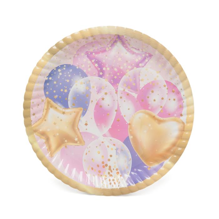 Resim  Roll-Up Party Dreams  Karton Tabak 8'li  Uçan Balonlar - Pembe / 23 cm