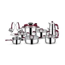 Schafer 18 Parça Compakt Çelik Çeyiz Seti - Bordo