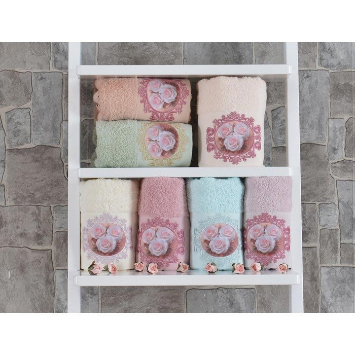 Resim  Minteks Paris Rosette El Havlusu (Pudra) - 50x90 cm