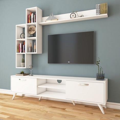 Resim  Rani A9-261 Duvar Raflı Kitaplıklı Tv Ünitesi - Beyaz