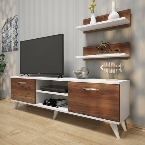 Resim  Rani A7 Duvar Raflı Kitaplıklı Tv Ünitesi - Beyaz / Minyatür Ceviz