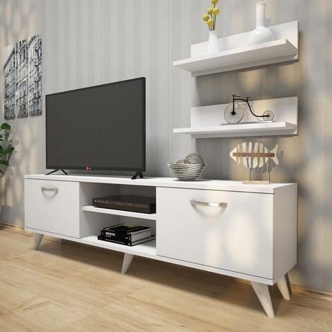 Resim  Rani A7 Duvar Raflı Kitaplıklı Tv Ünitesi - Beyaz