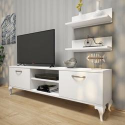 Rani A4 Duvar Raflı Kitaplıklı Tv Ünitesi - Beyaz