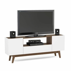 Rani A1 Ahşap Ayaklı Modern Tv Ünitesi - Beyaz / Ceviz
