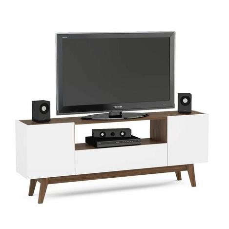 Resim  Rani A1 Ahşap Ayaklı Modern Tv Ünitesi - Beyaz / Ceviz
