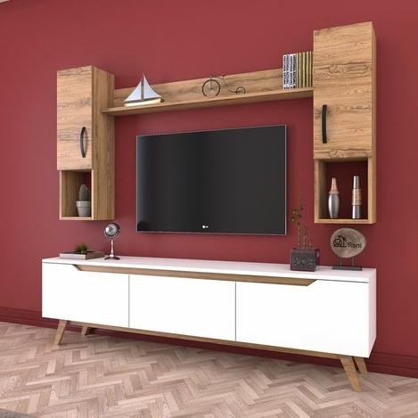 Resim  Rani D1 M27 Duvar Raflı Kitaplıklı Ahşap Ayaklı Tv Ünitesi - Ceviz / Beyaz