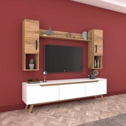 Rani D1 M27 Duvar Raflı Kitaplıklı Ahşap Ayaklı Tv Ünitesi - Ceviz / Beyaz
