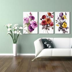 Doku Tablo Kır Çiçekleri 3'lü Kombin Kanvas Tablo
