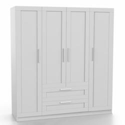 DSM Dizayn MNT306 4 Kapılı 2 Çekmeceli Gardırop - Beyaz