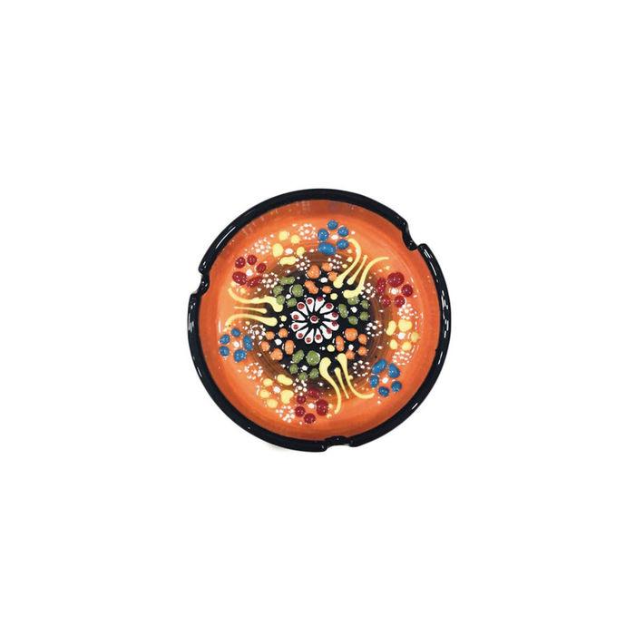 Myros Dekorlu Çini Küllük (Turuncu) - 10 cm
