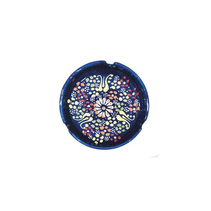 Myros Dekorlu Çini Küllük (Lacivert) - 10 cm